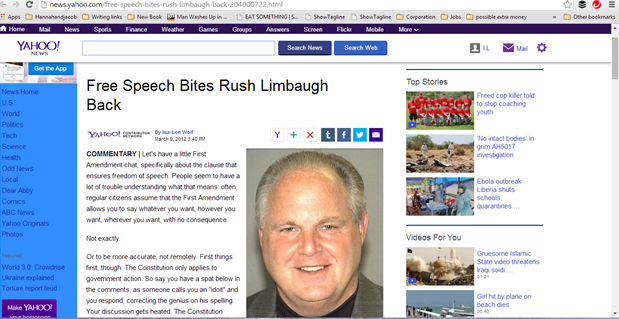Free Speech Bites Rush Limbaugh Back