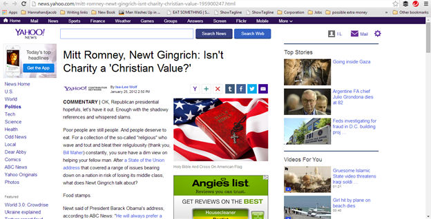 Mitt Romney newt gingrich isn't charity a christian value